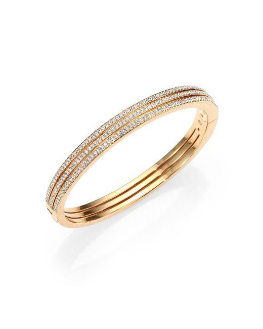 Adriana Orsini - Metallic Goldtone Pavé Crystal Three-row Bangle Bracelet - Lyst