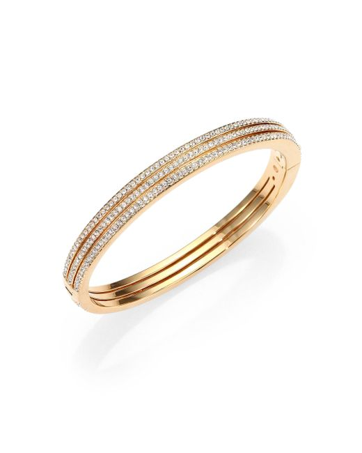 Adriana Orsini - Metallic Pave Crystal Three-row Bangle Bracelet/goldtone - Lyst