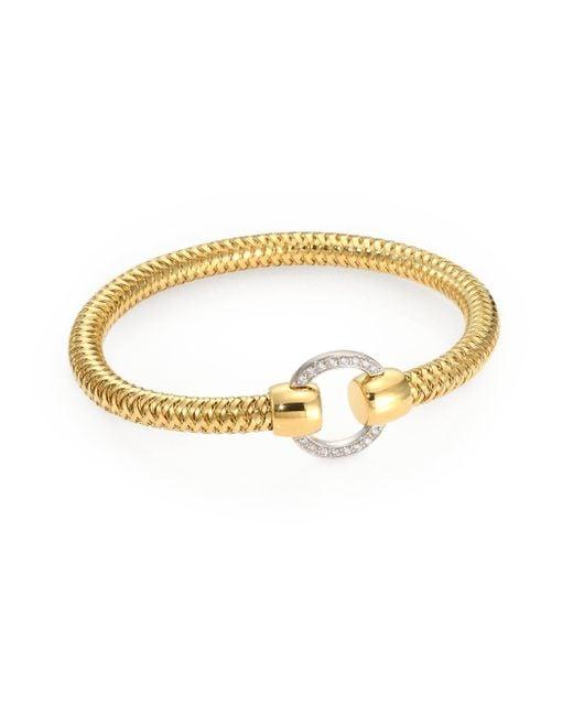 Roberto Coin - Metallic Primavera Diamond & 18k Yellow Gold Woven Bracelet - Lyst