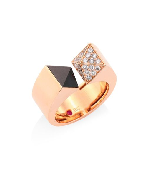 Roberto Coin - Metallic Prive Pyramid Pave Diamond, Black Jade & 18k Rose Gold Ring - Lyst