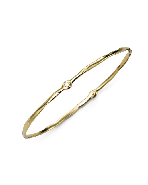 Ippolita - Metallic 18k Yellow Gold Two-diamond Bangle Bracelet - Lyst