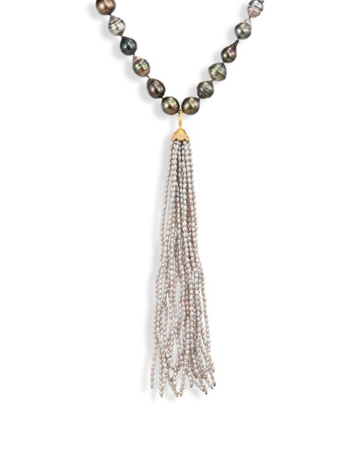 Jordan Alexander - Metallic 2mm Silver Seed Pearl, Diamond & 18k Yellow Gold Tassel - Lyst