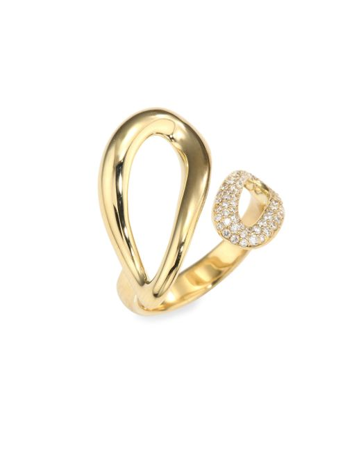Ippolita - Metallic Cherish Diamond & 18k Yellow Gold Small Bypass Ring - Lyst