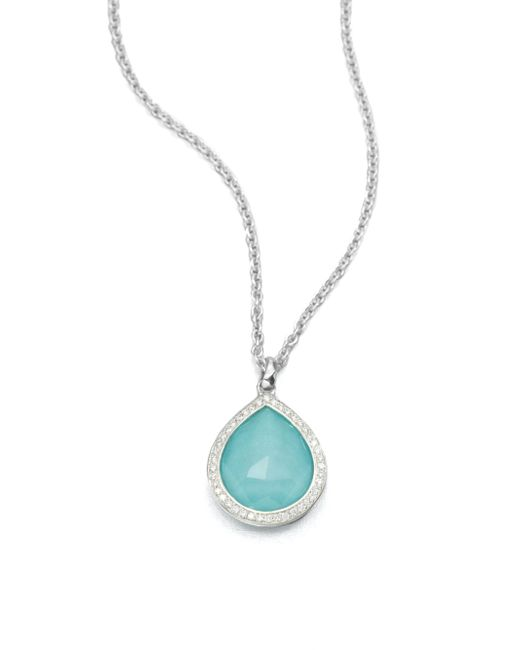 Ippolita - Metallic Turquoise Doublet & Diamond Pendant Necklace - Lyst