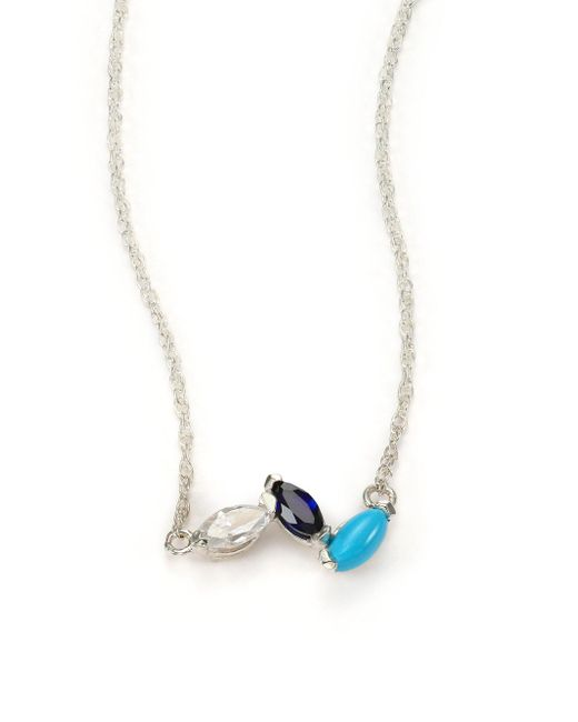 Jennifer Zeuner | Metallic Sterling Silver Crystal Necklace | Lyst