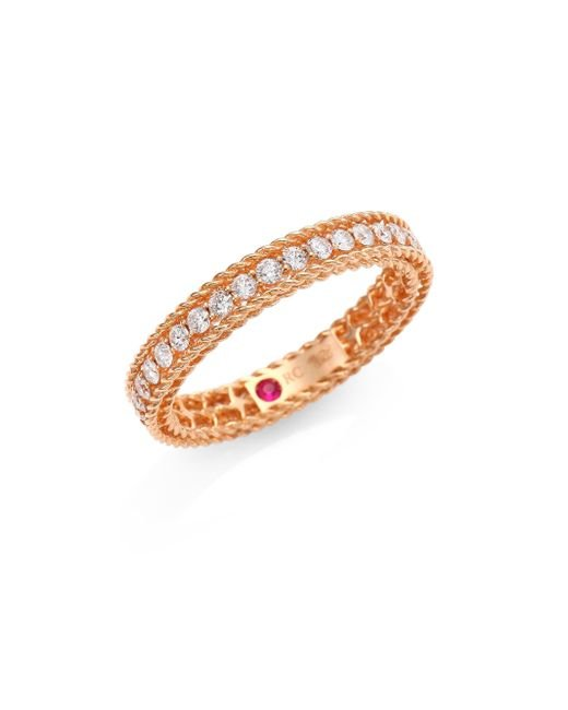 Roberto Coin - Pink Symphony Braided Diamond & 18k Rose Gold Ring - Lyst