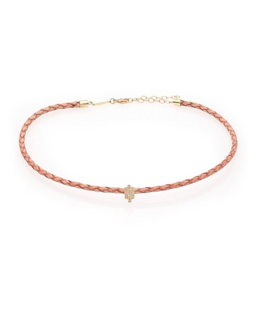 Jacquie Aiche - Metallic Diamond, 14k Yellow Gold & Leather Choker Necklace - Lyst