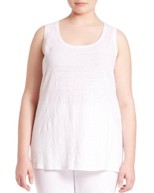 Eileen Fisher - White System Organic Linen Jersey Tank Top - Lyst