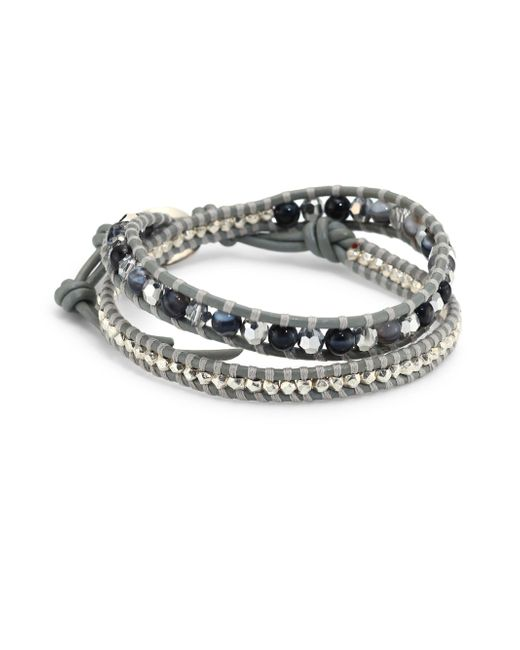 Chan Luu | Gray Grey Banded Agate Mix Double-wrap Bracelet | Lyst