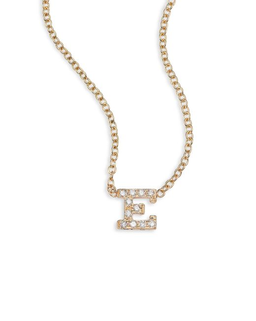 Zoe Chicco   Metallic Pave Diamond & 14k Yellow Gold Initial Pendant Necklace   Lyst
