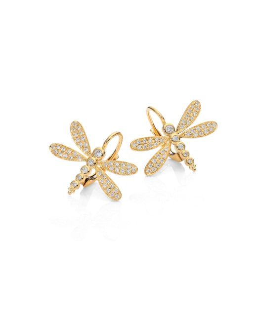 Temple St. Clair - Metallic Dragonfly Pave Diamond & 18k Yellow Gold Earrings - Lyst