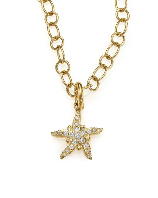 Temple St. Clair - Metallic Tree Of Life Diamond & 18k Yellow Gold Sea Star Pendant - Lyst