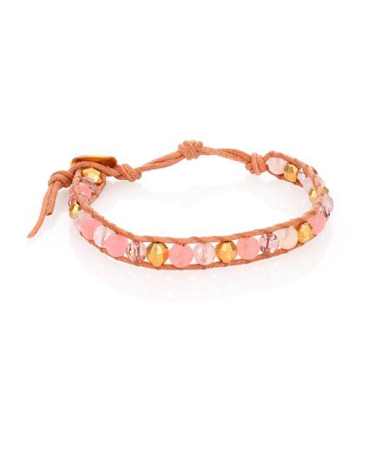 Chan Luu | Metallic Opal, Mother-of-pearl, Crystal & Leather Beaded Wrap Bracelet | Lyst