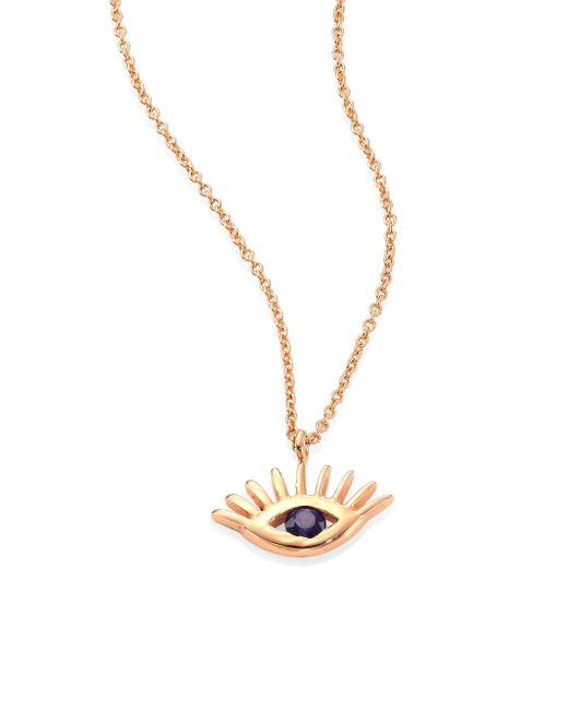 Kismet by Milka - Metallic Protect Me Evil Eye Blue Sapphire & 14k Rose Gold Pendant Necklace - Lyst
