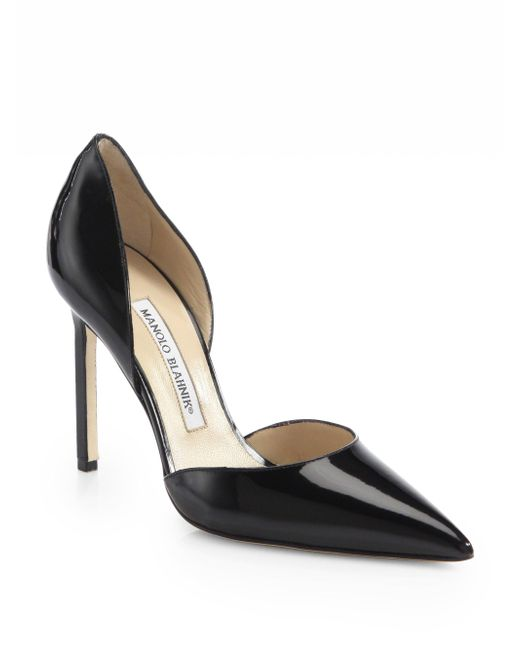 Manolo Blahnik | Black Tayler Patent Leather D'orsay Pumps | Lyst