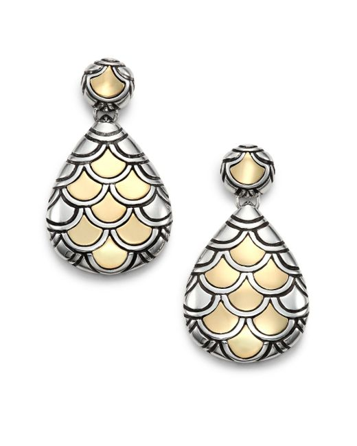 John Hardy - Metallic Naga 18k Yellow Gold & Sterling Silver Teardrop Earrings - Lyst