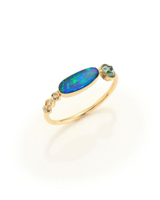 Jacquie Aiche | Metallic Diamond, Opal, Green Tourmaline & 14k Yellow Gold Ring | Lyst