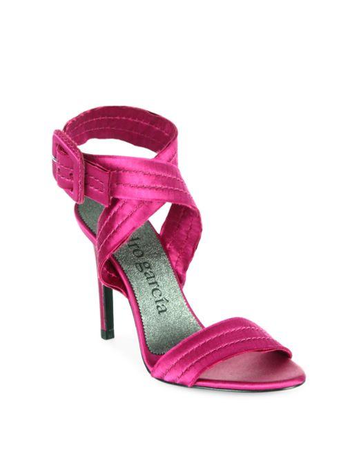 Pedro Garcia - Pink Catalina Satin Sandals - Lyst