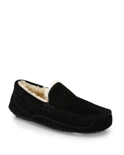 Ugg | Black Ascot Suede And Shearling Slippers | Lyst