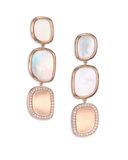 Roberto Coin - Pink Mother-of-pearl, Diamond & 18k Rose Gold Drop Earrings - Lyst