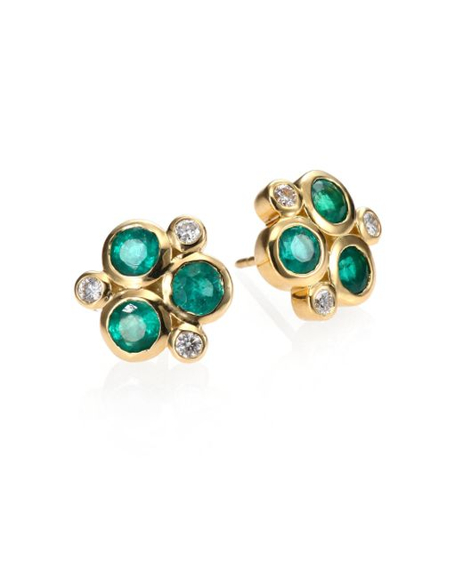 Temple St. Clair - Green Classic Color Emerald, Diamond & 18k Yellow Gold Trio Earrings - Lyst