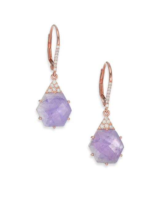 Meira T | Pink Tanzanite, Mother-of-pearl, Diamond & 14k Rose Gold Hexagon Doublet Drop Earrings | Lyst