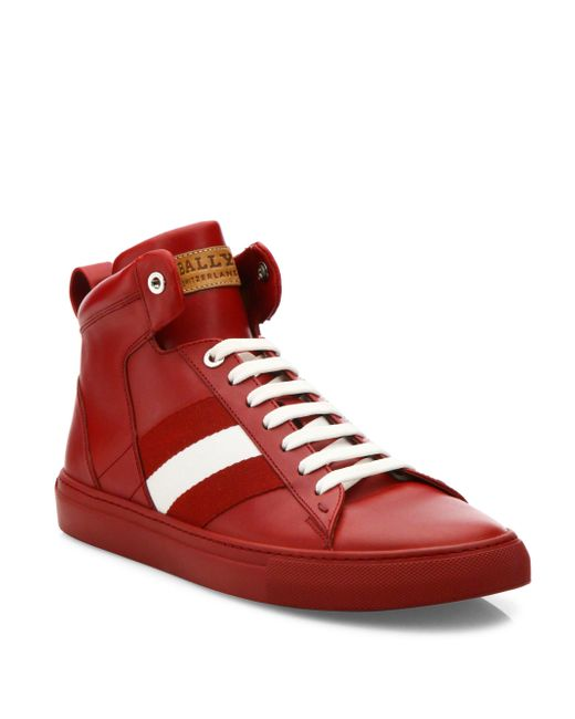 Bally - Red Hedern Leather High-top Sneakers for Men - Lyst