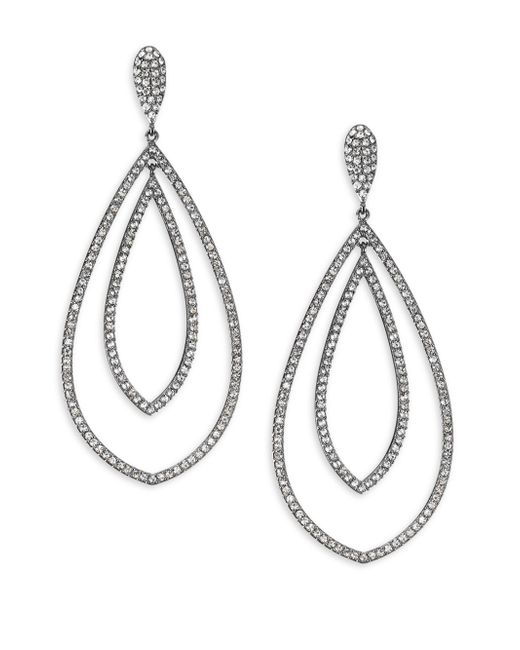 Adriana Orsini - Metallic Pave Teardrop Earrings - Lyst