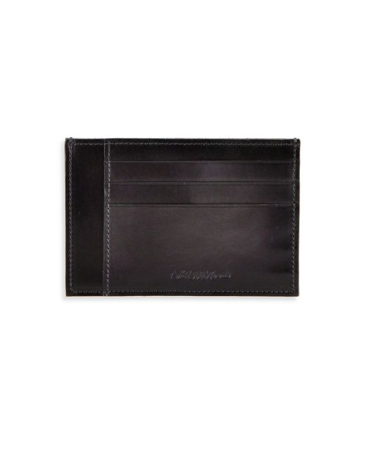 Saks Fifth Avenue | Gray Burnished Leather Card Case for Men | Lyst