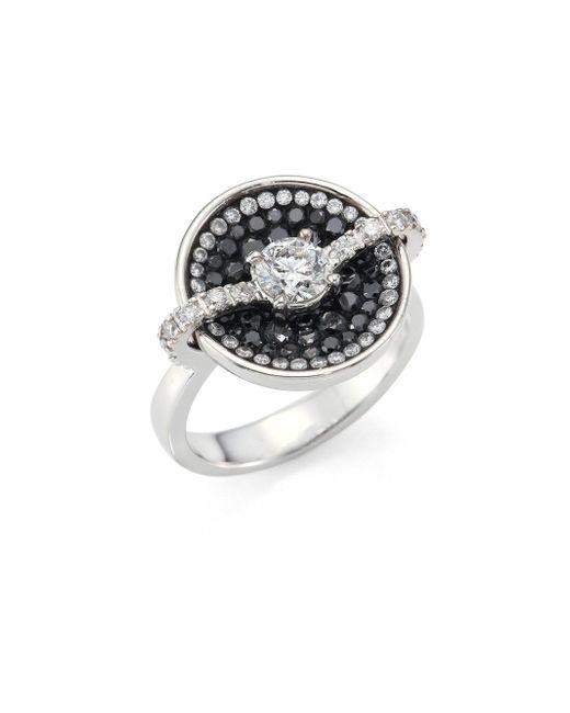 Plevé - Metallic Black Border Diamond & 18k White Gold Round Opus Ring - Lyst