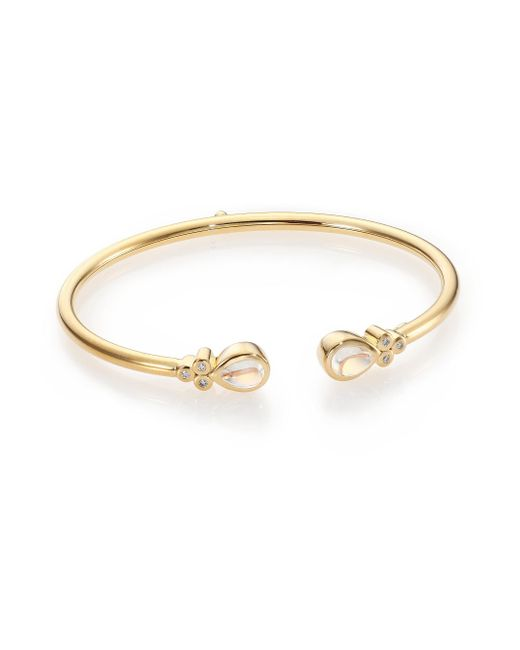 Temple St. Clair - Metallic Bellina Royal Blue Moonstone, Diamond & 18k Yellow Gold Bangle Bracelet - Lyst