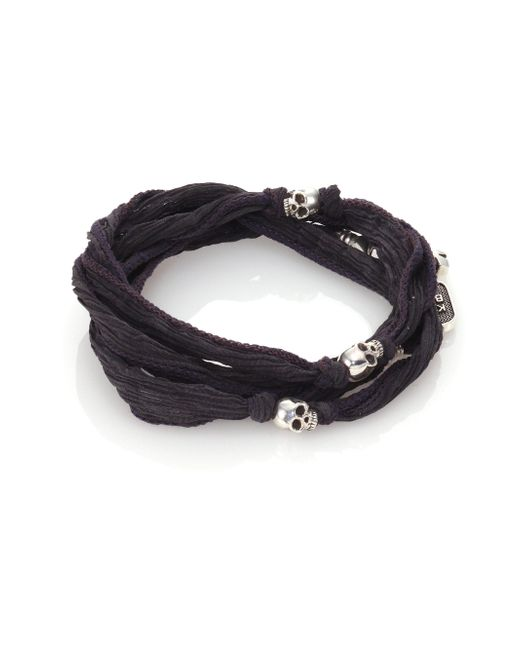 King Baby Studio | Gray Sterling Silver & Silk Skull Wrap Bracelet for Men | Lyst