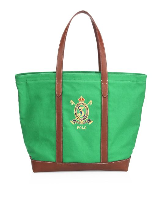 Polo Ralph Lauren - Green Crest Canvas Tote - Lyst