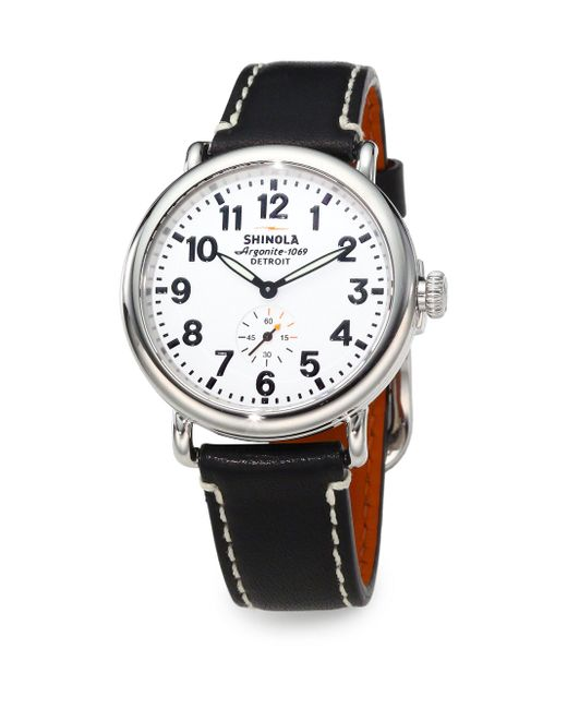 Shinola | Runwell Stainless Steel & Leather Strap Watch/black | Lyst