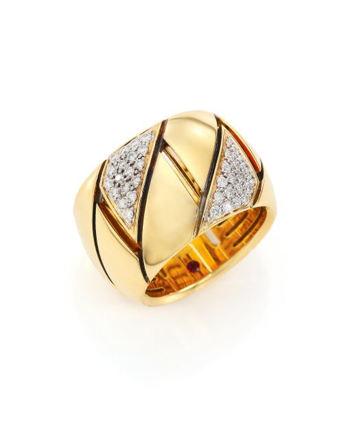 Roberto Coin - Metallic Appassionata Diamond, 18k Yellow Gold & 18k White Gold Ring - Lyst