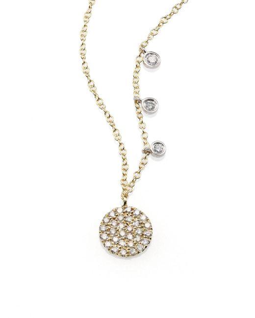 Meira T - Metallic Diamond & 14k Yellow Gold Disc Necklace - Lyst