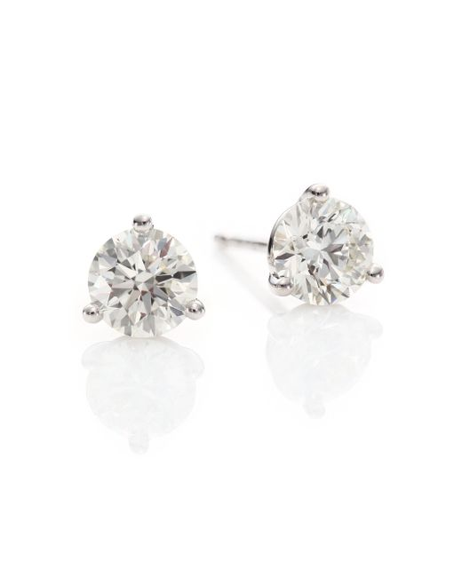 Hearts On Fire - Metallic Diamond & 18k White Gold Three-prong Stud Earrings - Lyst