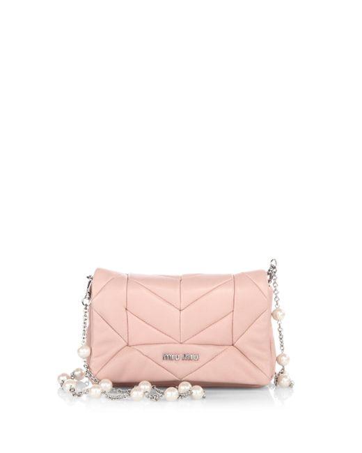 Miu Miu | Pink Pattina Orchidea Leather Convertible Clutch | Lyst