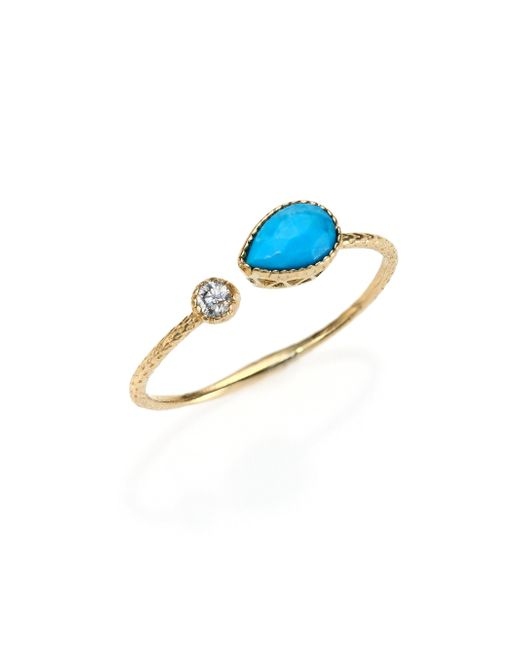 Jacquie Aiche - Blue Turquoise, Diamond & 14k Yellow Gold Teardrop Waif Wrap Ring - Lyst