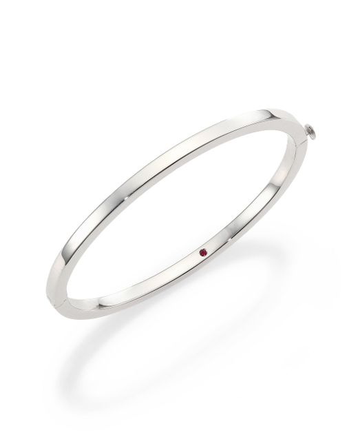 Roberto Coin - Metallic 18k White Gold Oval Bangle Bracelet - Lyst