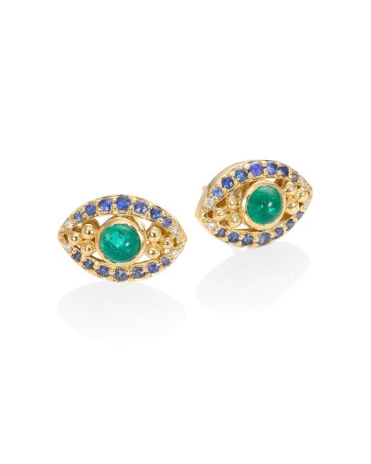 Temple St. Clair | Metallic Evil Eye Diamond, Emerald, Blue Sapphire & 18k Yellow Gold Stud Earrings | Lyst