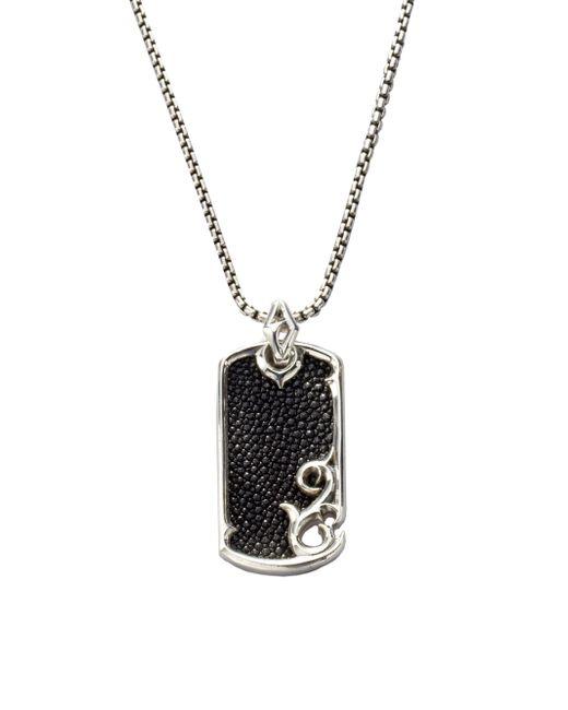 Stephen Webster - Black Leather & Silver Dogtag Necklace for Men - Lyst