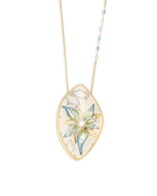 Alexis Bittar | Metallic Lucite & Crystal Encased Flower Pendant Necklace | Lyst
