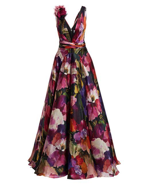 Marchesa Purple Floral Silk Organza Gown