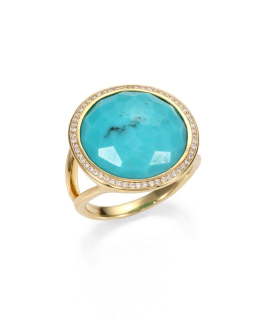 Ippolita   Metallic Lollipop Turquoise, Diamond & 18k Yellow Gold Ring   Lyst