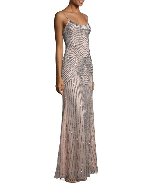 Basix Black Label | Pink Sequined Slip Gown | Lyst