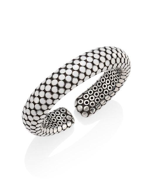 John Hardy - Dot Small Sterling Silver Flex Cuff/white - Lyst