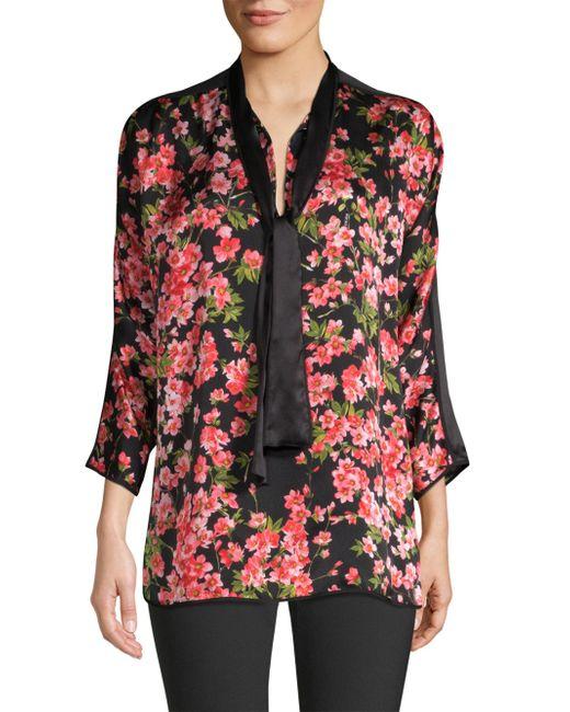 ESCADA - Red Niana Floral-print Silk Tie-neck Blouse - Lyst