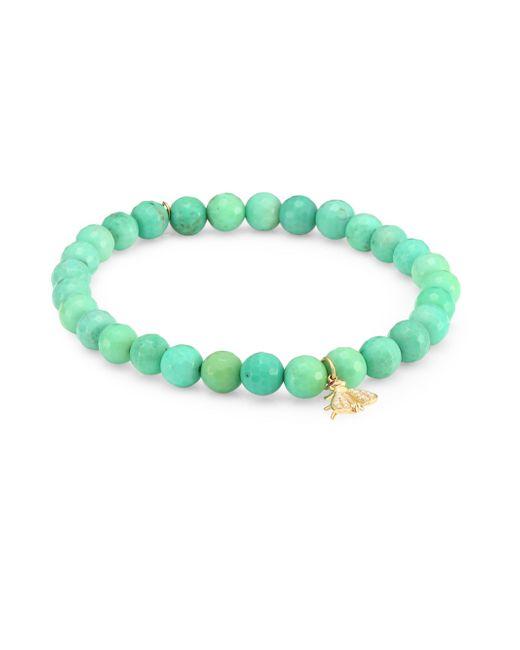 Sydney Evan - Diamond, Ruby, Green Opal And 14k Gold Fly Charm Beaded Bracelet - Lyst