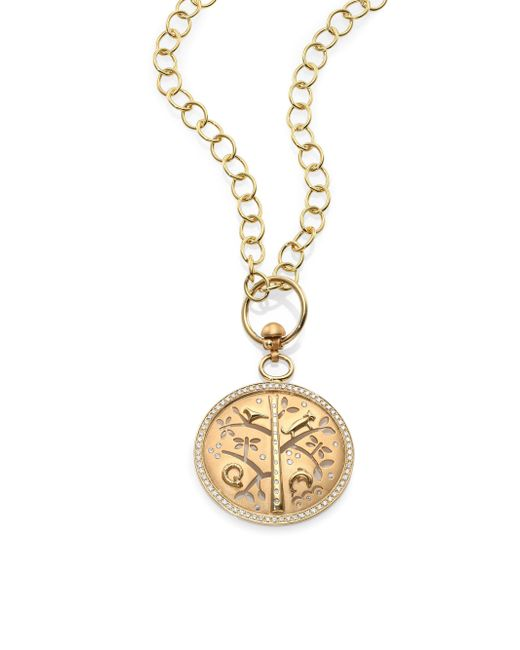 Temple St. Clair - Metallic Tree Of Life Diamond & 18k Yellow Gold Small Pendant - Lyst
